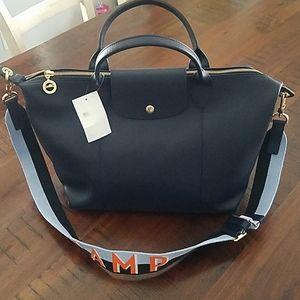 Longchamp leather bag navy large